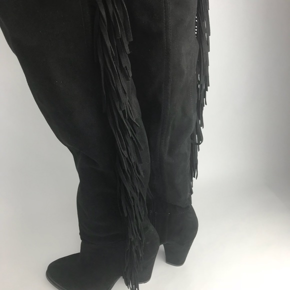 4c0a0008a01 JUST FAB Women's Fringe Tassel Tall Suede Boot 8